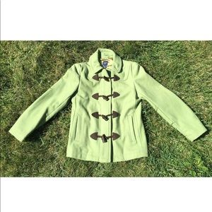Gap Peacoat Jacket Green Zipper And Buttons Small